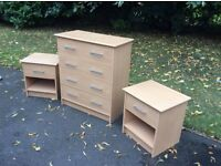 Set of 2 bedside chest of drawers & 4 drawer chest of draws - Birch colour