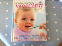 Annabel Karmel weaning hard back book. A guide to weaning your baby, with recipes