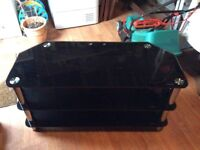 """Black Glass TV Stand 3 Stand for up to 55"""" TVs"""