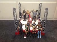 Wrestling ring with wrestlers