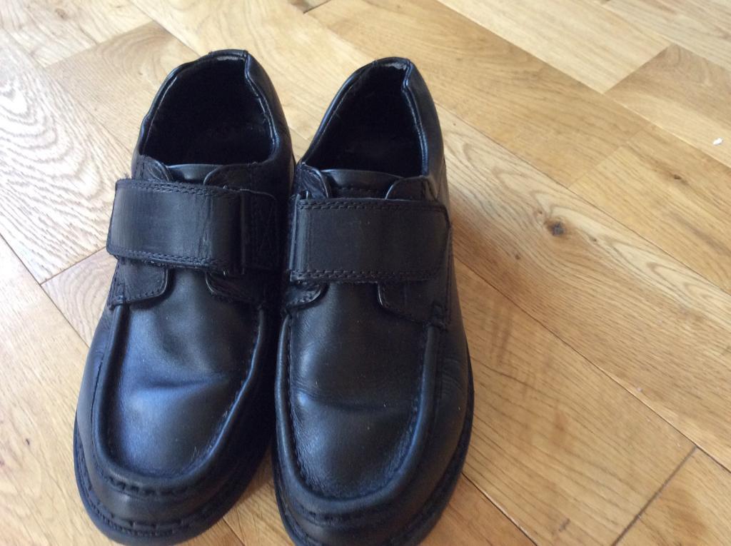 Boys M & S black leather school shoes size 3