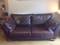 M&S Dark brown leather 2 seater sofa and matching Loveseat. Excellent condition