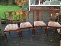 Set of 4 shaped leg chairs ideal to refurbish