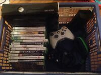 XBox360 console, 12 games, 2 controllers, headphones