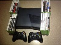 XBox 360 games console, 2 controllers plus 20 games