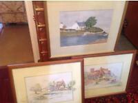 3 original paintings watercolours