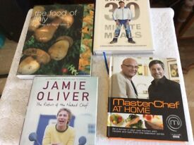 Four cookery books food of Italy, 2 jamie Oliver and master chef