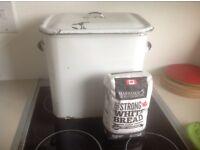 Vintage White Enamel Flour/Bread Bin