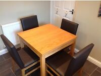 Oak Extending table and 4 Chairs
