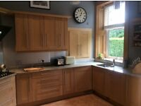Oak Shaker Style Used Kitchen with Granite worktops and Siemens appliances