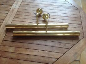 Two large brass picture lights. Good condition