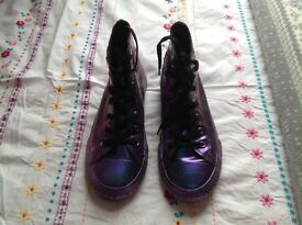 Metallic Purple Converse Trainers, size 3.5, very good condition