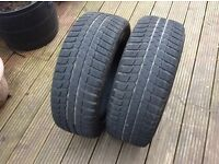 TYRES. Winter Car Tyres. (pair). 205x55.R16. 50per cent worn.