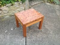Solid block pine side table, needs a bit of TLC.