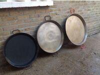 3 Large Paella Pans