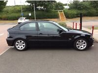BMW 316TI COMPACT 2003 METALIC BLACK LOW MILAGE (62600) £1350
