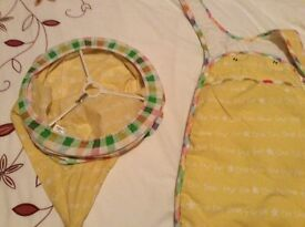 Mother care curtains, lampshade, nappy holder, sleeping bag and mobile