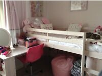 Mid cabin bed with chest and desk/dressing table