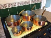 Vintage French Copper Saucepans ( set of 5 )