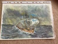 Hand painted old sailing boat