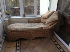 wicker chaise longue for conservatory plus cushions