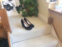 Ladies black wedge shoes