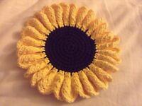 Beautiful Handmade Crochet Sunflower Hot Pad Coaster Kitchen Gift Homeware Christmas