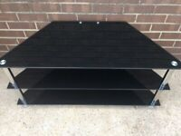 Glass and chrome 3 tier tv stand vgc