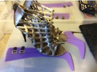 Ladies TV/CD 2 pairs of size 8 shoes, gold gladiator sandals ,black ankle shoe boot , used footwear