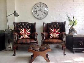 Vintage button base Chesterfield armchair . Pair available. Can deliver