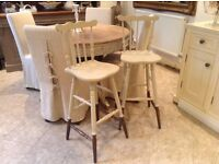 lovely pair of solid oak farmhouse style bar stools
