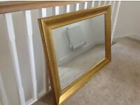 """Large """"Old Gold"""" effect framed wall mirror"""