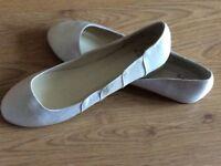 Ivory satin flat wedding shoes size 7