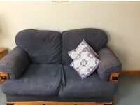 DARK BLUE SETTEE WITH WOOD DETAIL - Good condition