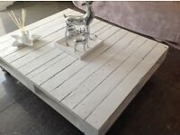 White painted pallet table £15 Shabby Chic coffee table on wheels