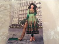 Stunning Indian / Pakistani Anarkali dress, green, gold, size 8