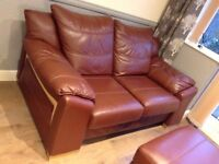 LEATHER SOFA GREAT CONDITION COMPLETE WITH POUFFE
