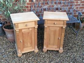 Pair of rustic solid pine bedside cabinets