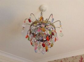 Multi coloured crystal chandelier type lampshade