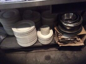 Second Hand Restaurant plates cutlery , table cloths and food warmer