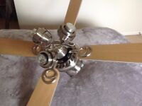 ceiling fan with light wood blades, 3 spot lights and 3 speeds.