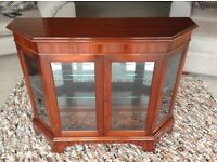 MAHOGANY GLASS DISPLAY CABINET, SHOWCASE CABINET WITH ELECTRIC LIGHT, GLASS SHELF AND LOCKING DOOR