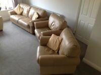3 piece suite, leather, 3 seater sofa with 2 matching chairs, fire retardant.