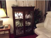 Mahogany Glass Cabinet, 2 Coffee Tables with Glass Tops, TV Cabinet, Standard Lamp with shade