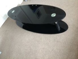 Glass TV stand black & silver in good condition