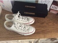 Women's white converse size 6 used with box