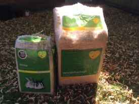 Straw bedding, wood shavings and hutch disinfectant for rabbit or small animal