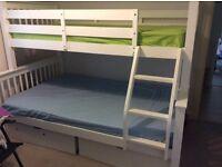 Triple White bunk bed with mattresses, top matress size 3ft, bottom mattress size 4ft.