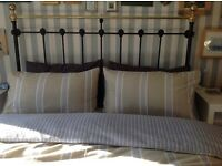 Original Victorian Cast Iron & Brass King Size Bed with sprung base