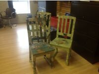 Set of 4 artist designed chairs,one of a kind,ideal home/shop/salon/cafe/